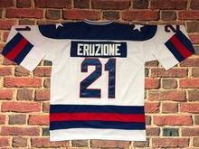 #21 Mike Eruzione 1980 Miracle On Ice USA Hockey UNSIGNED CUSTOM Jersey WHITE and BLUE(China (Mainland))
