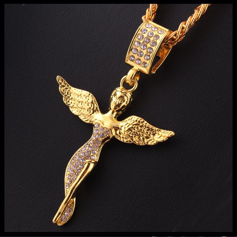 Горячая распродажа мужские хип-хоп микро ангел ожерелье шарм воротник позолоченный хип хоп шику rappers кольер