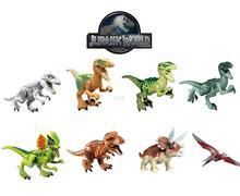 8pcs/Set Jurassic World Dinosaur Figures Jurassic Park 4 Minifigures Bricks Models & Building Toys for Children