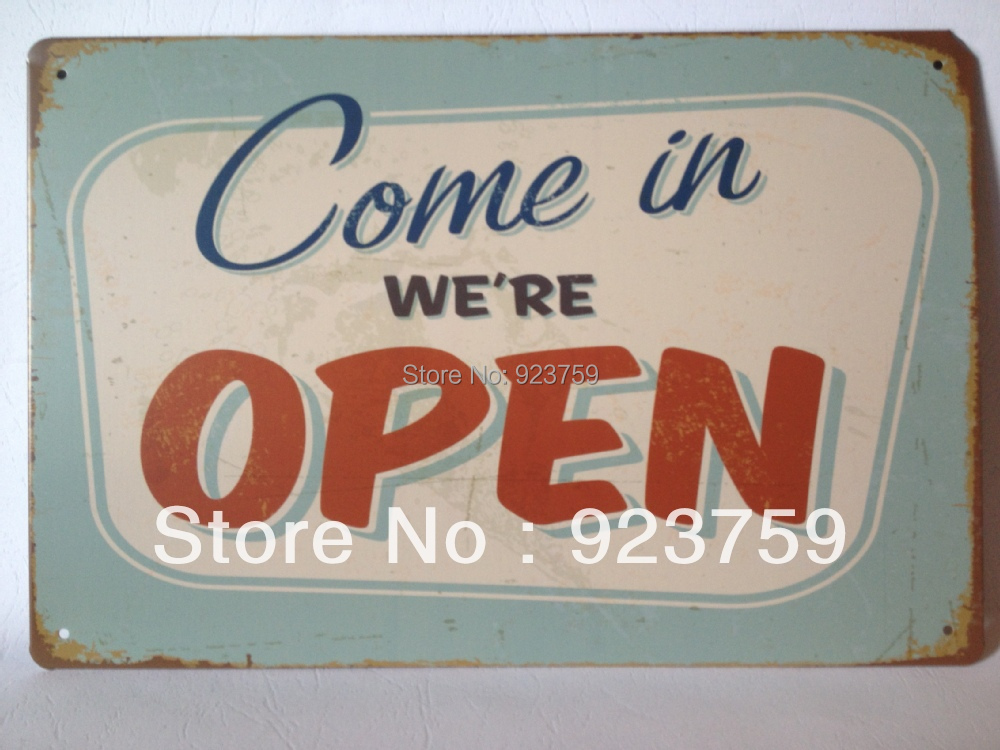 Open Vintage Tin Sign Bar pub House Office Restaurant home Wall Decoration Retro Metal iron Art sticker Poster item(China (Mainland))