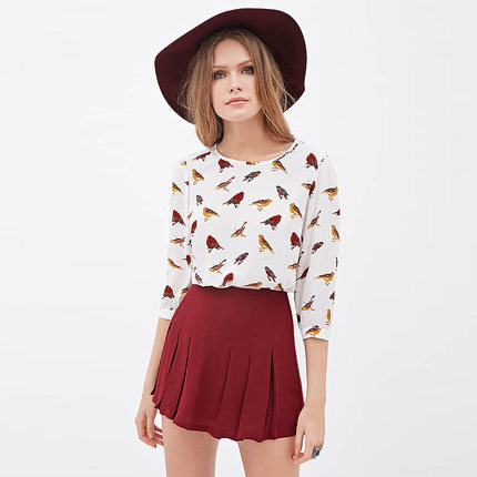 2015 NEW ! Hot Sale Free Shipping Sexy Women Colorful Birds Chiffon shirt 3/4 sleeve Loose Blouse Casual Tops XXL Y0403-49D