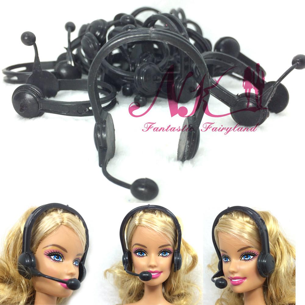 NK 20 pcs/set Trend Plastic  Headset microphone accent For barbie doll Equipment Earphone Greatest Reward