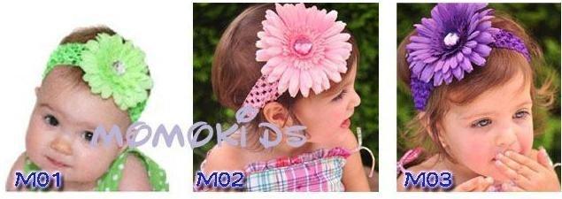 Free Shipping 12pcs Crochet Headbands + 12pcs Gerbera  Daisy Flowers/Baby Hair Bows with Alligator Grip