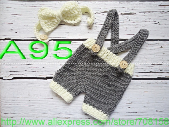 free shipping,Baby Gray overalls,Handmade Crochet Bow tie and shorts sets newborn Photo Prop 100% cotton,Christmas gift(China (Mainland))