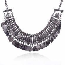 Hot Selling Vintage 2015 Women Stylish Pretty Boho Silver Plated Coins Collar Choker Statement Necklace Fine Jewelry(China (Mainland))