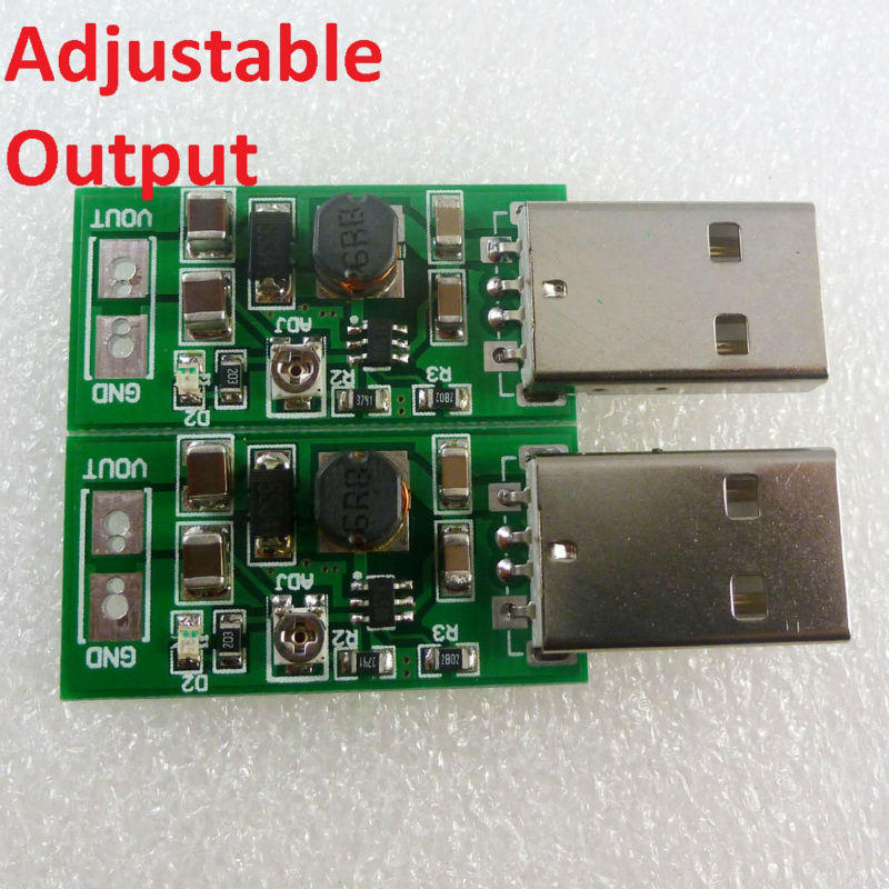 TB414*2 2x USB A Male 5V Input 6V-15V Output adjustable regulator board DC DC Converter Step-up Boost UPS Module for PLC Router(China (Mainland))