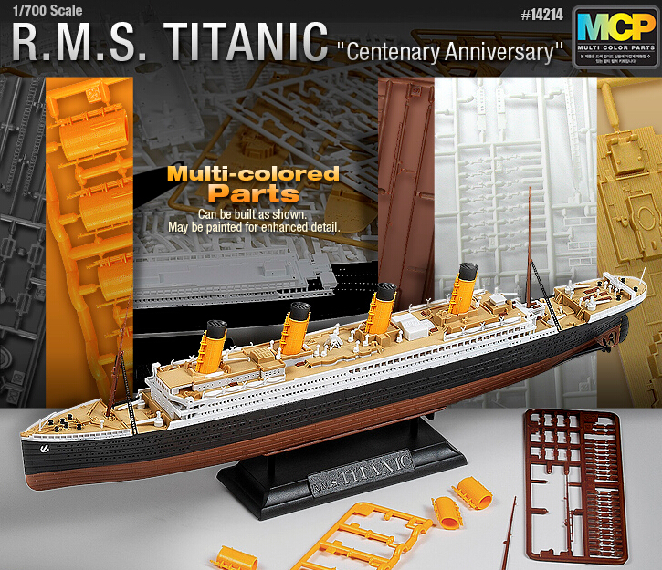 ACADEMY 14214 Multi Colored Parts 1/700 Scale RMS Titanic Model Kit Ship Toy Free Shipping(China (Mainland))