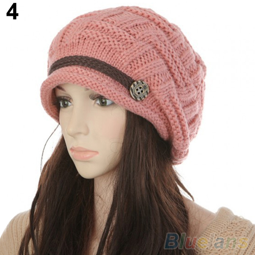 Women s Fashion Braided Autumn Winter Warm Baggy Beanie Knit Crochet Ski Hat Cap 1T49