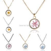 2015 New Vintage Flower Pendant Necklace Glass Concave Shape Silver Plated Statement  Chain Necklace Jewelry For Women 6 Styles