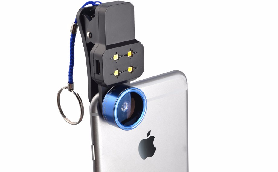 4in1 LED Filling Light Flash with Wide Angle Lens Macro Lens 198 Degree Fisheye Lens Mobile Phone Lenses For iPhone Smartphone