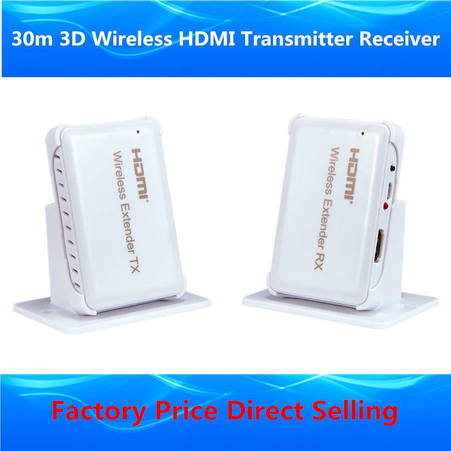 Full HD 1080P Wireless HDMI Extender 30m HDMI1.4 3D WIFI HDMI Sender Transmitter Receiver Over Wireless Video Audio Transmission(China (Mainland))
