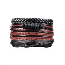 1 zestaw 3/4 sztuk skórzana bransoletka męska wielowarstwowa koralik bransoletka kobiety Punk Casual męska biżuteria akcesoria do bransoletki Homens Pulseira(China)