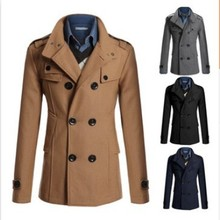 new winter 2015 men's casual personality coat lapel Men's double collar Slim windbreaker trench coat men(China (Mainland))