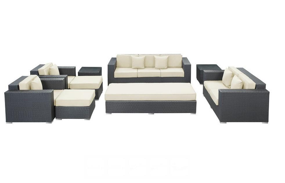 2016 Outdoor rattan furniture patio 9 Pieces sofa set white cushions(China (Mainland))