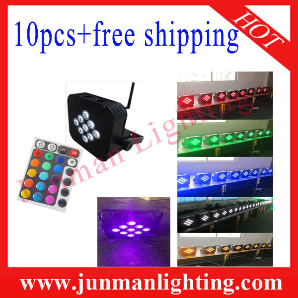 10pcs Charged Flight Case 9*18W RGBWAP(UV) 6 in 1 Wireless DMX&Remote Control&Battery Power LED Par Par64 Light Free Shipping(China (Mainland))