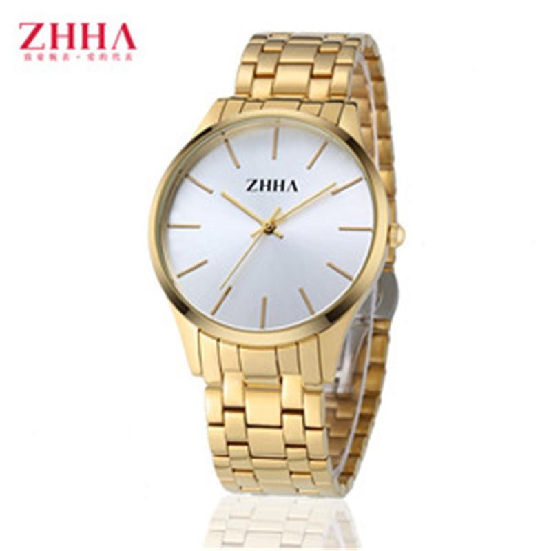 2016 Люкс Известный Бренд ZHHA Влюбленных Высокое Качество Золота мужские Кварцевые Часы Женщины Наручные Часы Водонепроницаемые Часы