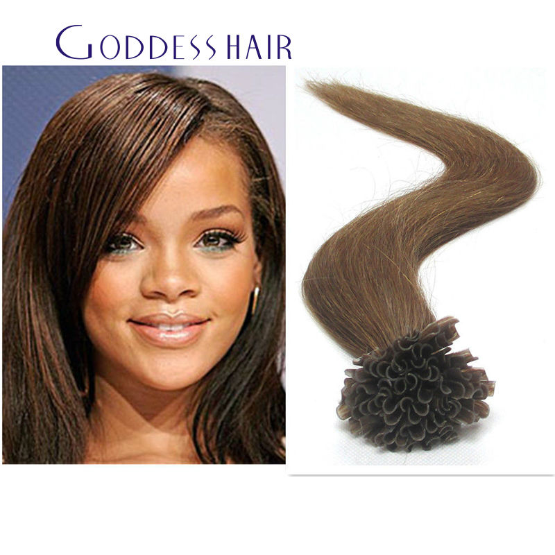 Top 8A 6# Brown nail u tip hair extensions 10A  virgin human hair 1g/s 100s 100g real human hair extensions free ship<br><br>Aliexpress