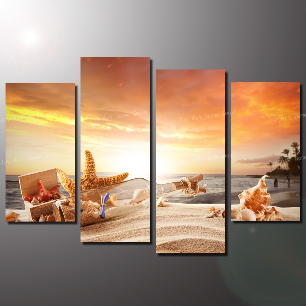 4 panel cheap modern paintings sunny beach modern wall art for Cheap prints and posters