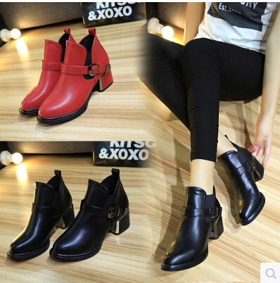 Women Boots Shoes Ankle Spring Autumn Boots Female Martin Boots Thick Warm British Style Retro Boots Square heel Short Shoes