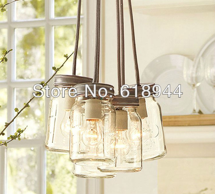 American Style Rustic Single Head Indoor Glass Bottle Pendant Light, Lamps for Home Modern, Restaurant, Bar Dining Table(China (Mainland))