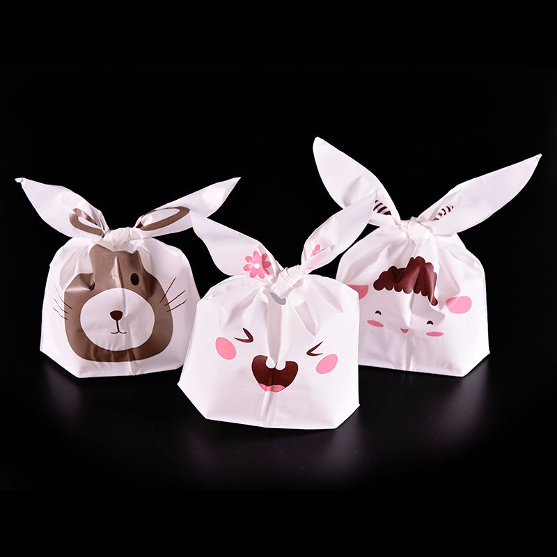 5pcs/lot Lovely Rabbit Sheep Rat Print White Packaging Bags Shopping Bag Supermarker Plastic Bags With Handle(China (Mainland))