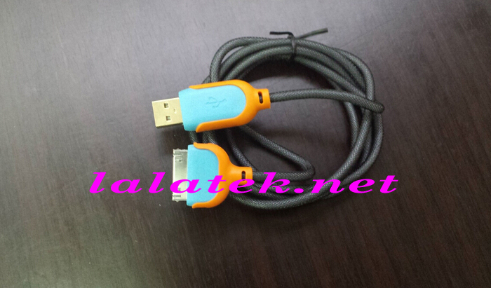 For iphone4 Fabric weaven Charger cable Heavy Duty USB Data polyamides cable for iPhone 4 4S With Retail Package Via 100pcs