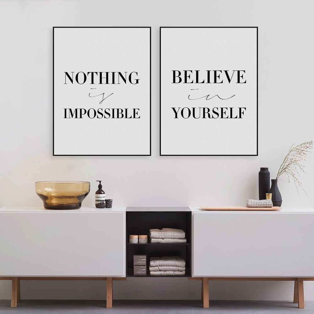 Black minimalist motivational typography believe quotes for Minimalist wall decor ideas