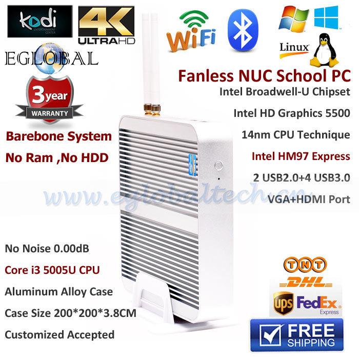 Intel Core i3 5Gen 5005U Broadwell Barebone NUC PC Fanless HDMI Thin Client Intel HM97 HD5500 4K HTPC Mini Computer Windows 10(China (Mainland))