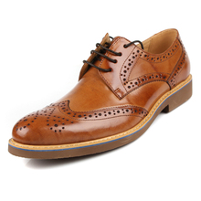 2015 autumn/witner carved cut-out genuine leather men's leather shoes lace-up round toe brogue dress wedding business shoes(China (Mainland))