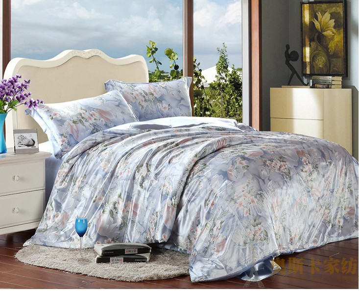 Blue Floral Silk Satin Bedding Set Luxury King Queen Full Twin Size Quilt Duvet Cover Bedspread