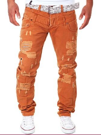 Скидки на Настоящий мужчина весна, Лето, Новый Досуг джинсы Мужчин мода Двойной талии Отверстие высокое качество дизельного двигателя брюки TE001