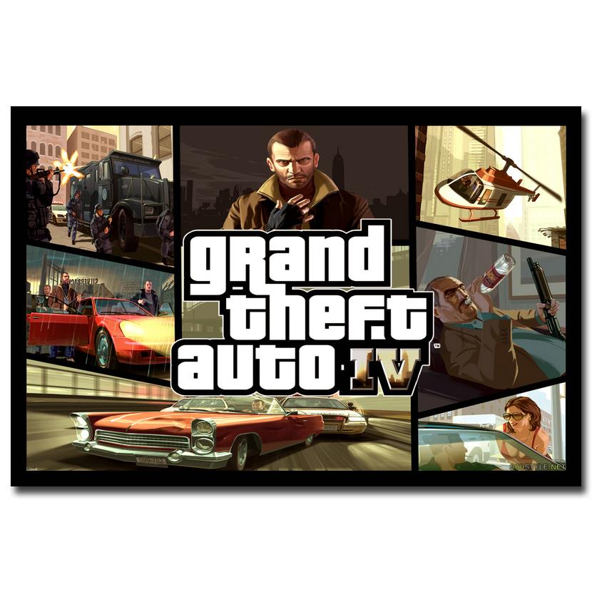 Grand theft auto v video game gta 5 art silk fabric poster for Living room 12x18