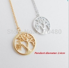 New Fashion Tree Gold Silver Long Chain Small Pendant Necklace Tree of Life Plant Necklaces for