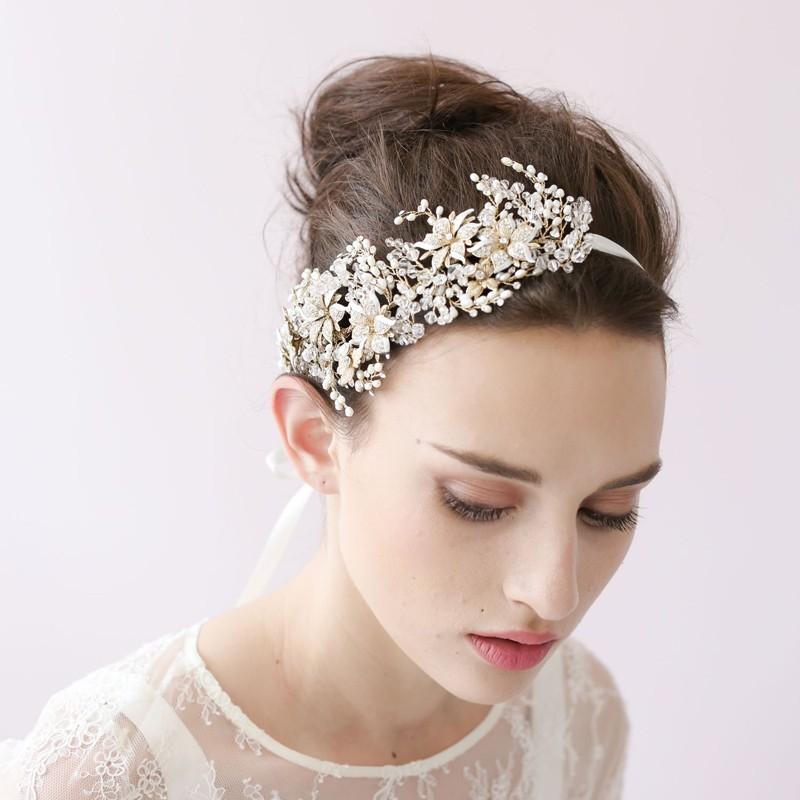 Wedding Bridal Headband 2016 New Pearl Crystal Rhinestone Flower Tiara Hair Band Pageant Prom Hair Piece Hair Accessories(China (Mainland))