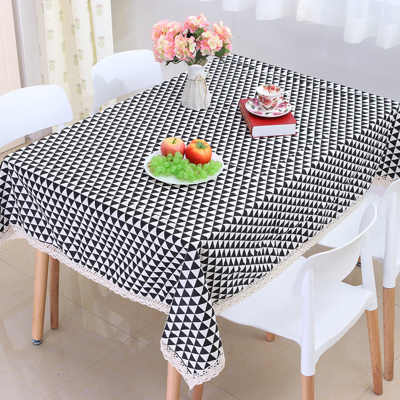 2017 New Sale Home Party Lace Tablecloth Geometric Modern Style Rectangle Cotton Table Covers Dinner Office Tables Clothes(China (Mainland))
