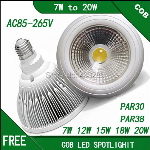 AC85-265V dimmable cob par30 par38 led lamp E27 7W 10W 12W 15W 18W 20WCOB led spotLight lamp warm white Neutral white Cool white(China (Mainland))