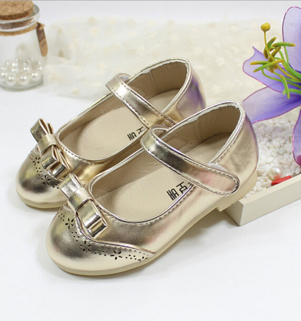 2016 New Spring Kids Girls Bow shoes Flats Leasure shoes for baby 3 Color Dance shoes Pu YZ-F-1