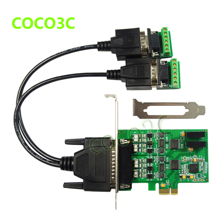 PCI express 2 ports Serial RS422 RS485 card PCI-e to Dual RS-422 RS-485 adapter PCIe Industrial I/O Card + low profile bracket<br><br>Aliexpress