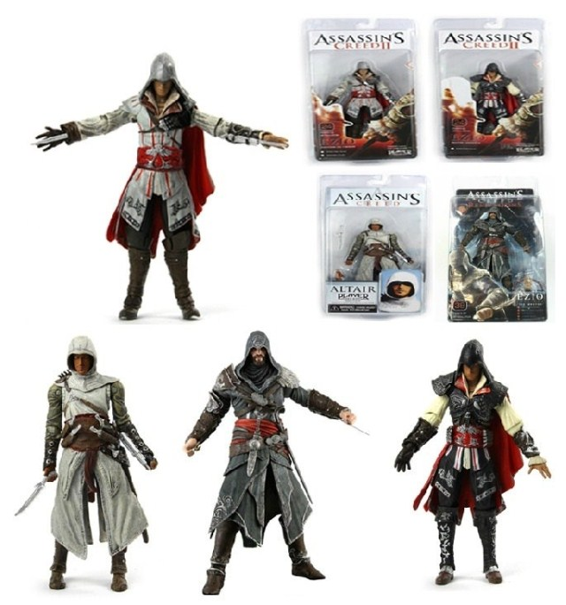 HOT!FREE SHIP Assassins Creed action figure 4 styles Toys ASSASSINS CREED generation Ezio Altair Hartel PVC 7'' Action Figures(China (Mainland))