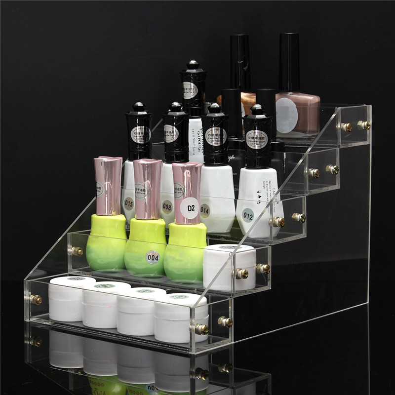 1 Pcs 5 Tiers Removable Nail Polish Shelf Acrylic Clear Cosmetic Varnish Display Stand Holder Women Makeup Rack Organizer Case(China (Mainland))