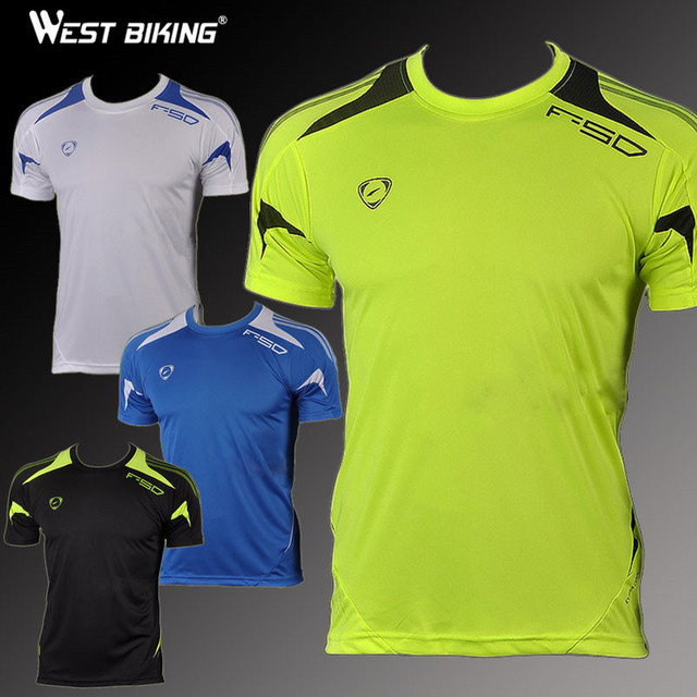 West Biking Brand Mens Bike Shirts Slim Fit Workout Shirts Male T-shirt Men Quick Dry Casual Running Cycling Short Sleeve Jersey