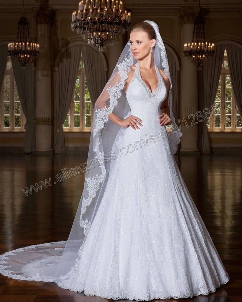 Aliexpress Buy Wedding Dresses With Removable Train Halter White Lace Bridal Gowns