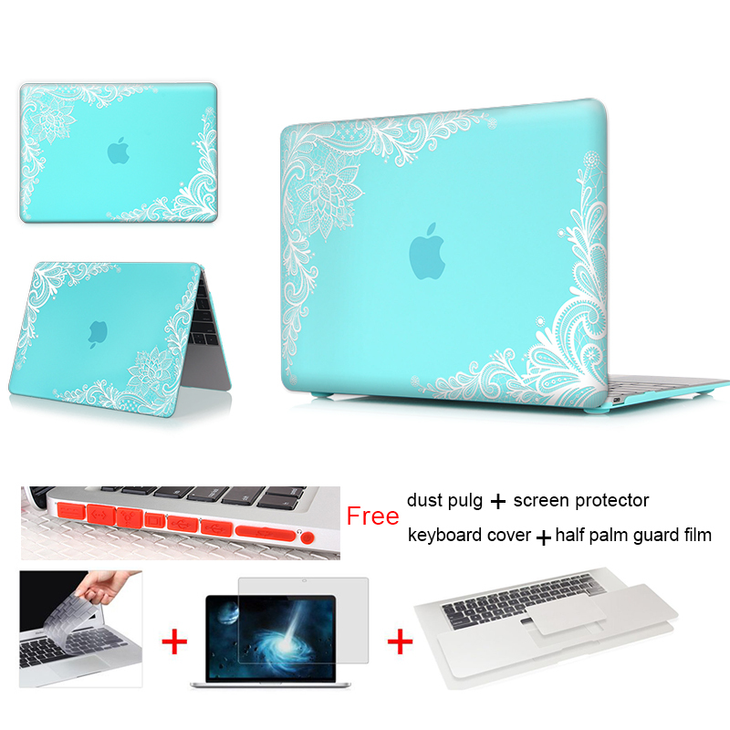 Print Laptop Hard Case For Macbook Air 11 13 Pro 12 13 15 Inch Retina For Mac Air Pro 13 Case Lace Teal Paisley Keyboard Cover(China (Mainland))