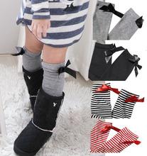 3 Pairs/Lot-Bowknot Striped Baby Leg Warmers/Girl's Socks/Kids Leg Warmers/Children's Hose Stockings(China (Mainland))