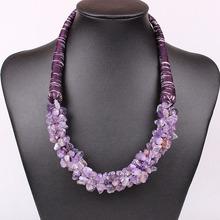 Personality 2014 New Fashion Turquoise Nature Stone Pendant Necklace Statement Bib Cord Chain Party Jewelry Woman Bijoux DFX-234(China (Mainland))