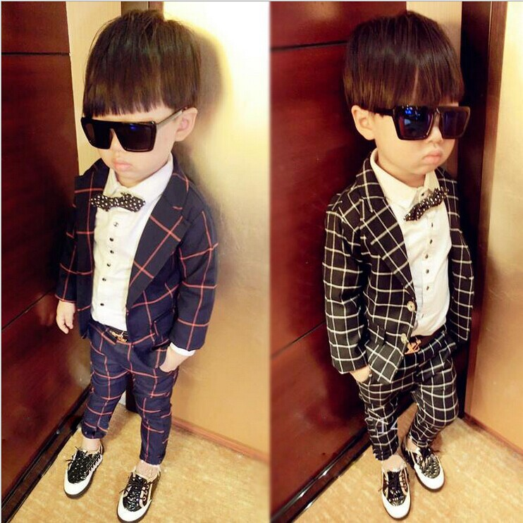 children clothing sets 2015 autumn plaid gentleman child blazers kids clothes button fashion cool boys - B&G Collection store