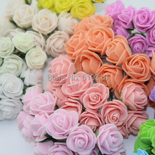Sale!!! 2.cm head Multicolor PE rose foam mini flower Bouquet solid color/Scrapbooking artificial rose flowers(144pcs/lot)(China (Mainland))