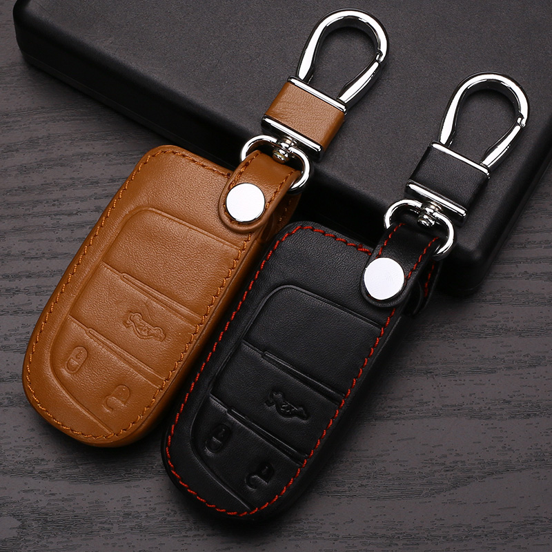 Leather Key Case Cover For Jeep Grand Cherokee Compass Patriot Dodge Journey Chrysler 300C Car Key Chain For Jeep Key Fob Cover(China (Mainland))