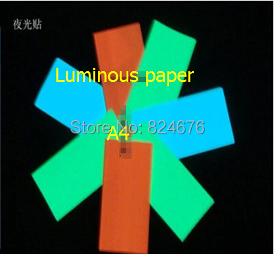 2pcs Colorful Luminous Sticker Paper High Energy Photoluminescent Glow In The Dark Luminescent Sticker Decor A4 Free shipping(China (Mainland))