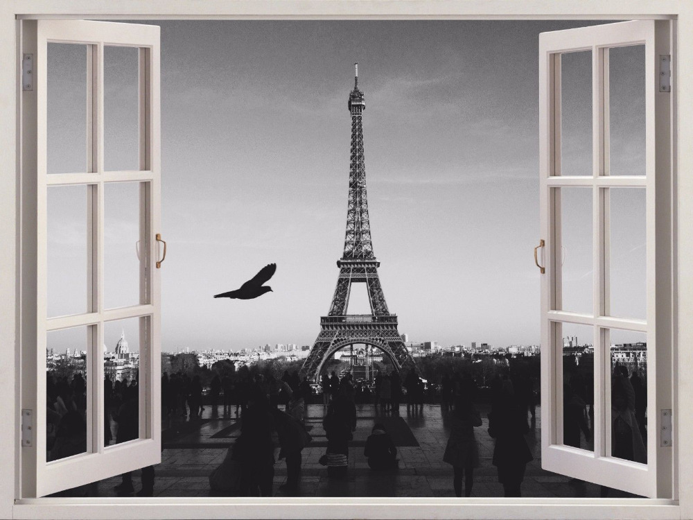 2016 hot 3d wall art sticker eiffel tower paris france